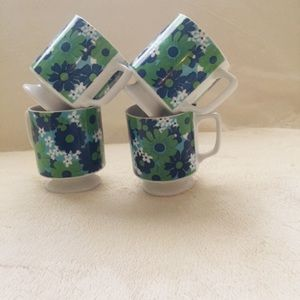 Other - Set of 4 Ceramic Floral Japanese Cups